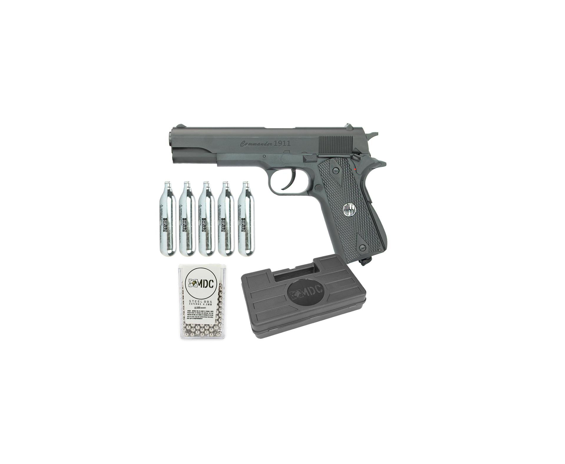 Pistola De Pressão Commander 1911 W125b Co2 Cal 4,5mm Win Gun Rossi + Case + Co2 + Munição