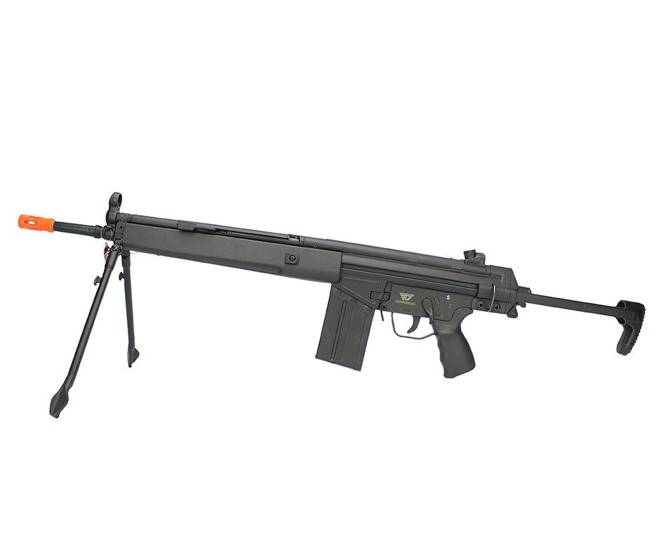 Rifle De Airsoft Hk G3 T3-099 Jing Gong Aeg Cal 6.0mm Com Bi-pé