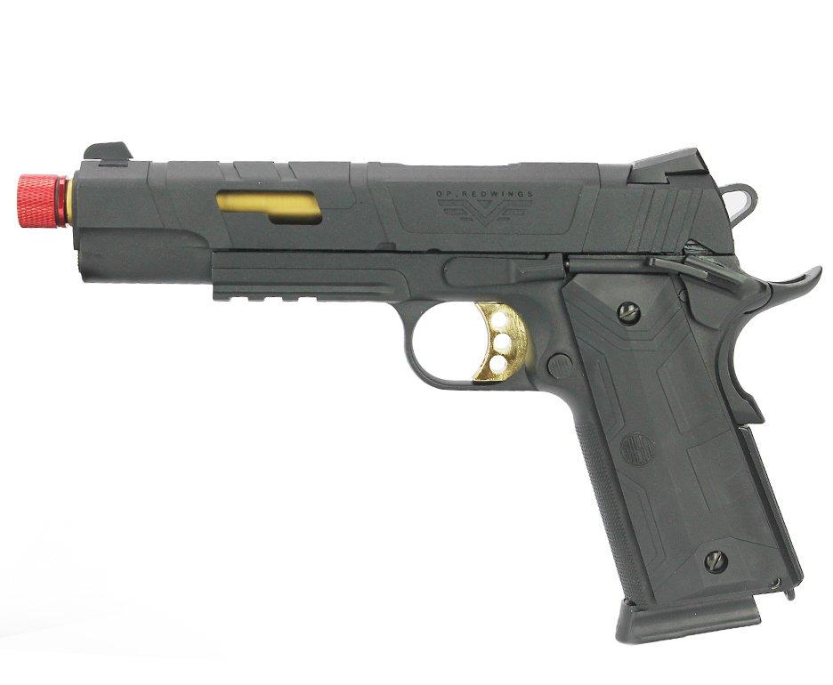 Pistola De Airsoft Redwings 1911 Rossi Gold Green Gas Com Blowback 6mm