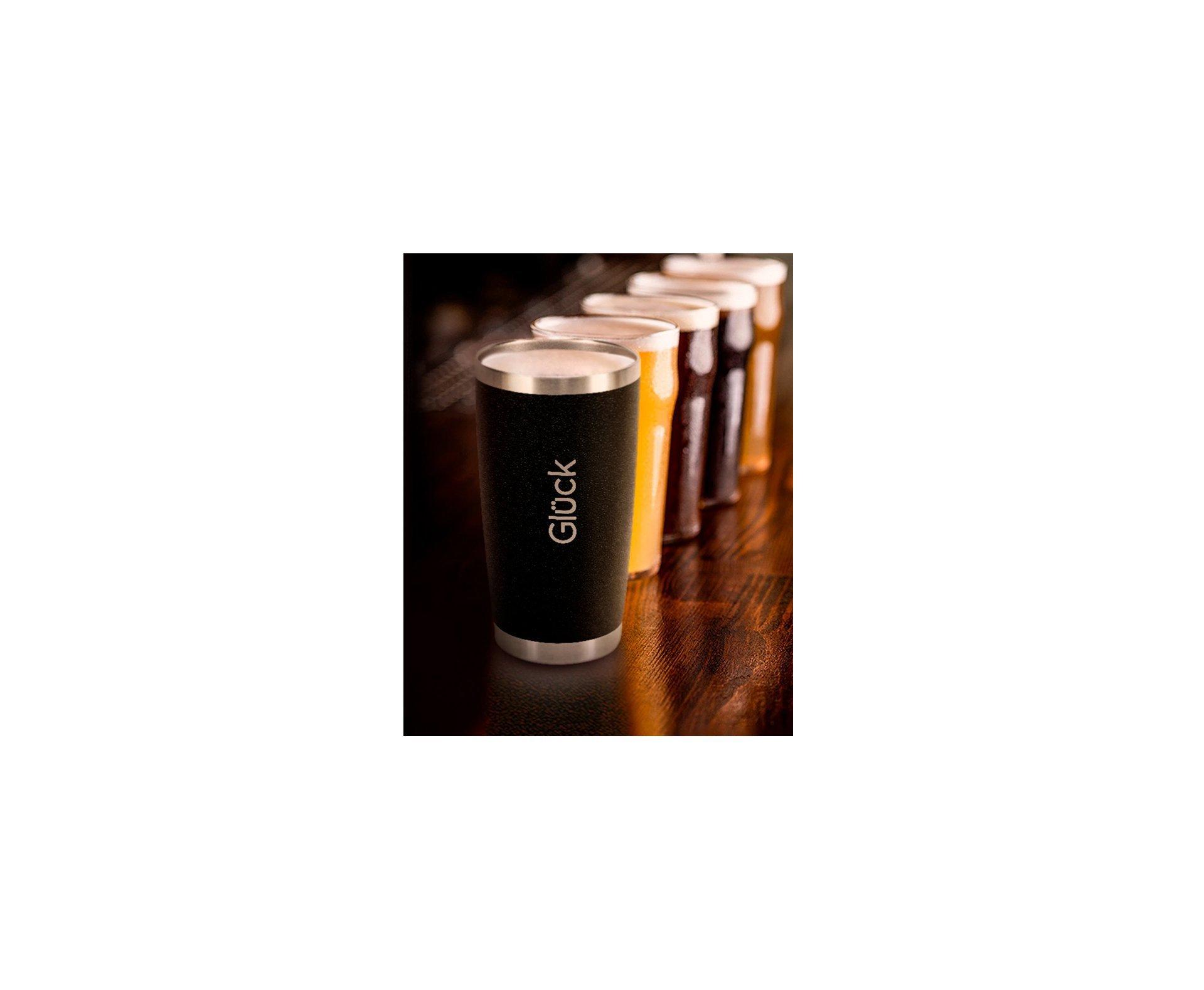 Copo Térmico Para Cerveja Lucky 591ml Inox Black - Gluck
