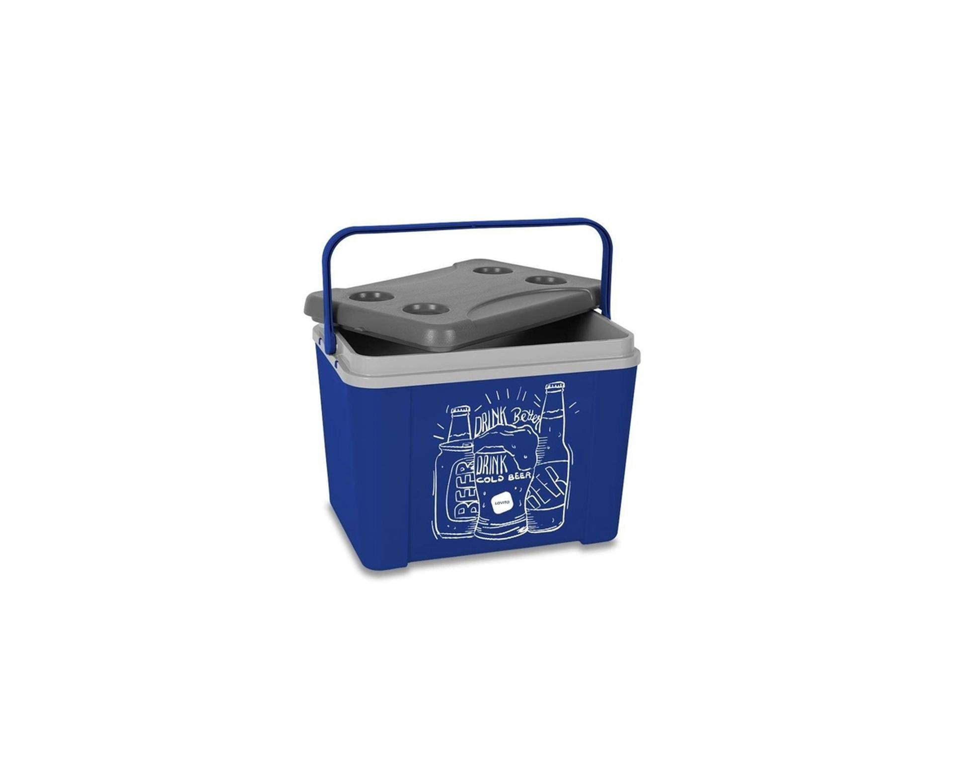 Caixa Térmica Lavita 34l Azul Desenho Beer