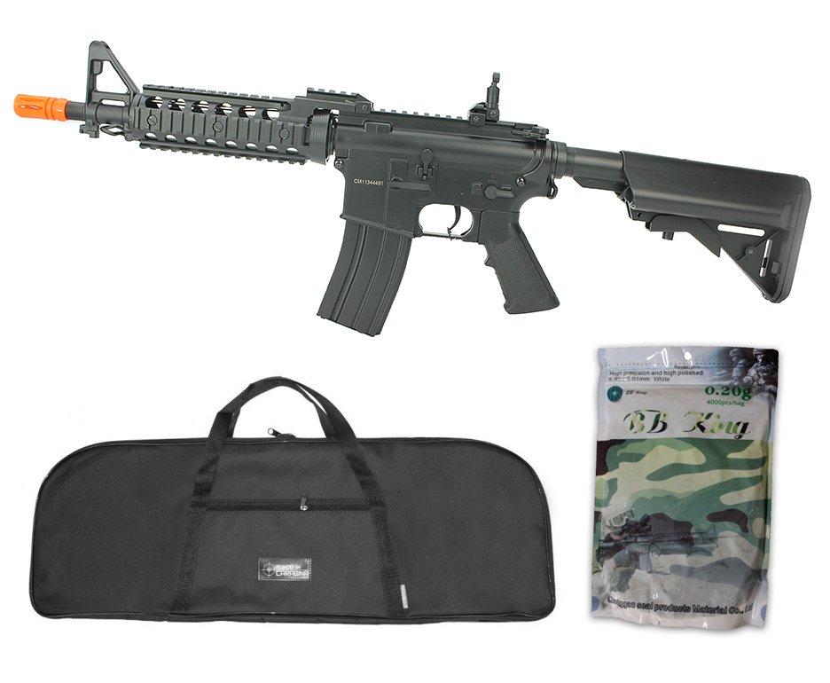Rifle De Airsoft M4 Ras Ii Cyma Cm505 Cal 6,0mm Bivolt + Capa Simples + Esferas Plásticas 4000 Unidades