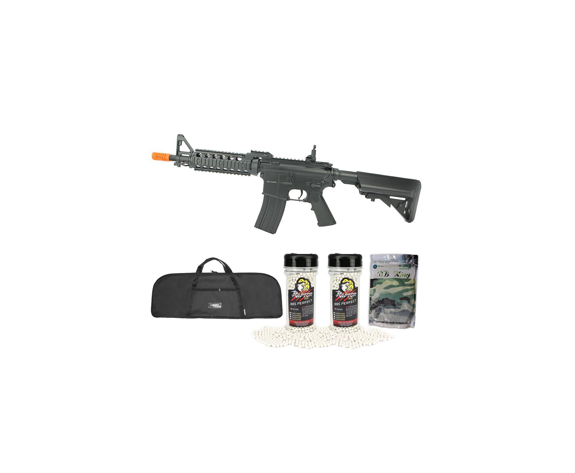 Rifle De Airsoft M4 Ras Ii Cyma Cm505 Cal 6,0mm Bivolt + Capa Simples + 8000 Bbs Munição