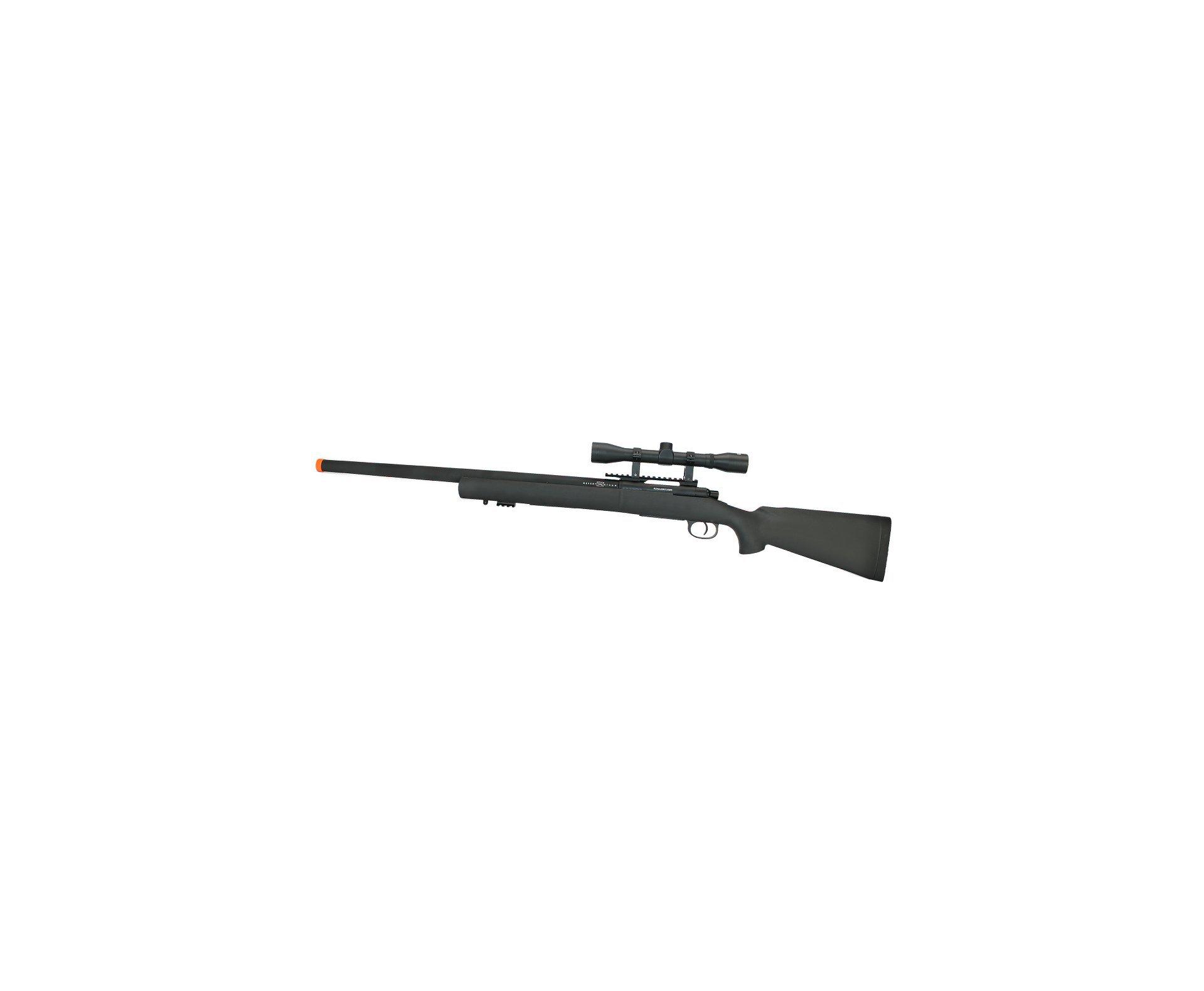 Rifle De Airsoft Sniper M24 Storm Full Metal Vsr10 Spring 6mm - Rossi + Luneta 4x32 + Bbs Raptor Sniper 0,30g 2000uni