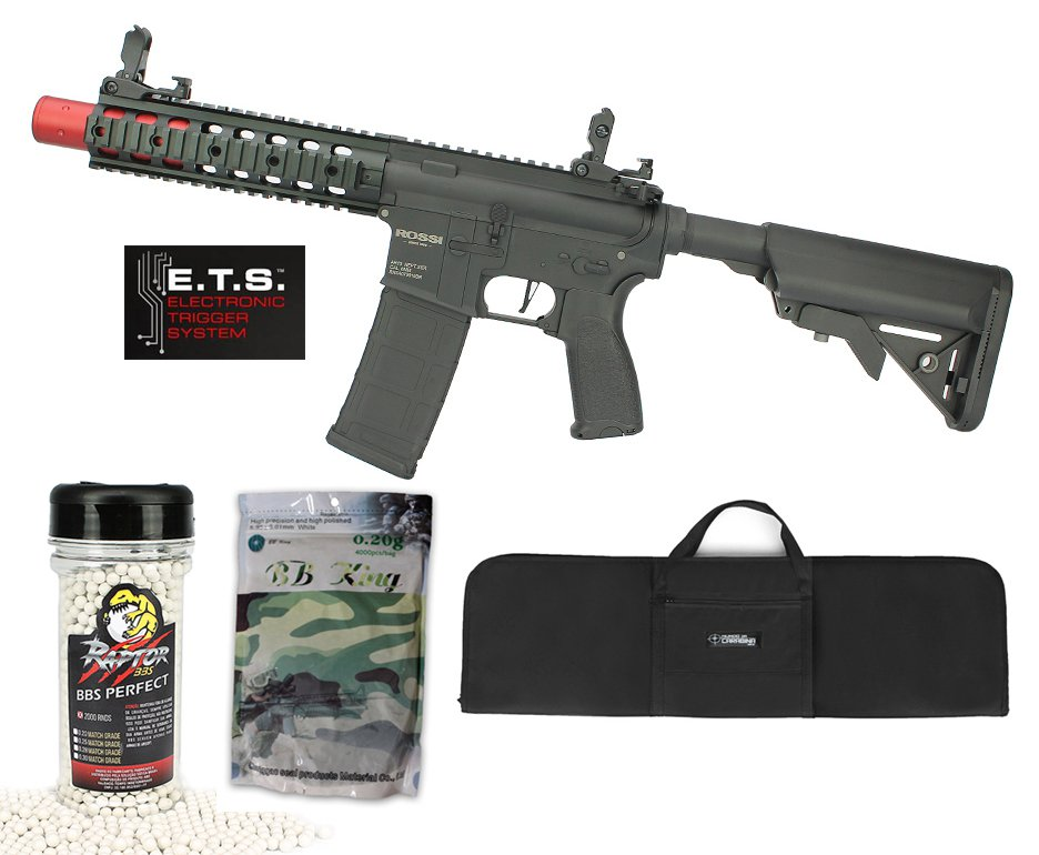 "Rifle De Airsoft Ar15 Neptune Full Metal Keymod 8"" Sd Et Elet 6mm Rossi + Capa Case Mdc + Bbs Raptor 0,28g 2000uni + Esfera Plastica 0,20g 4000uni"