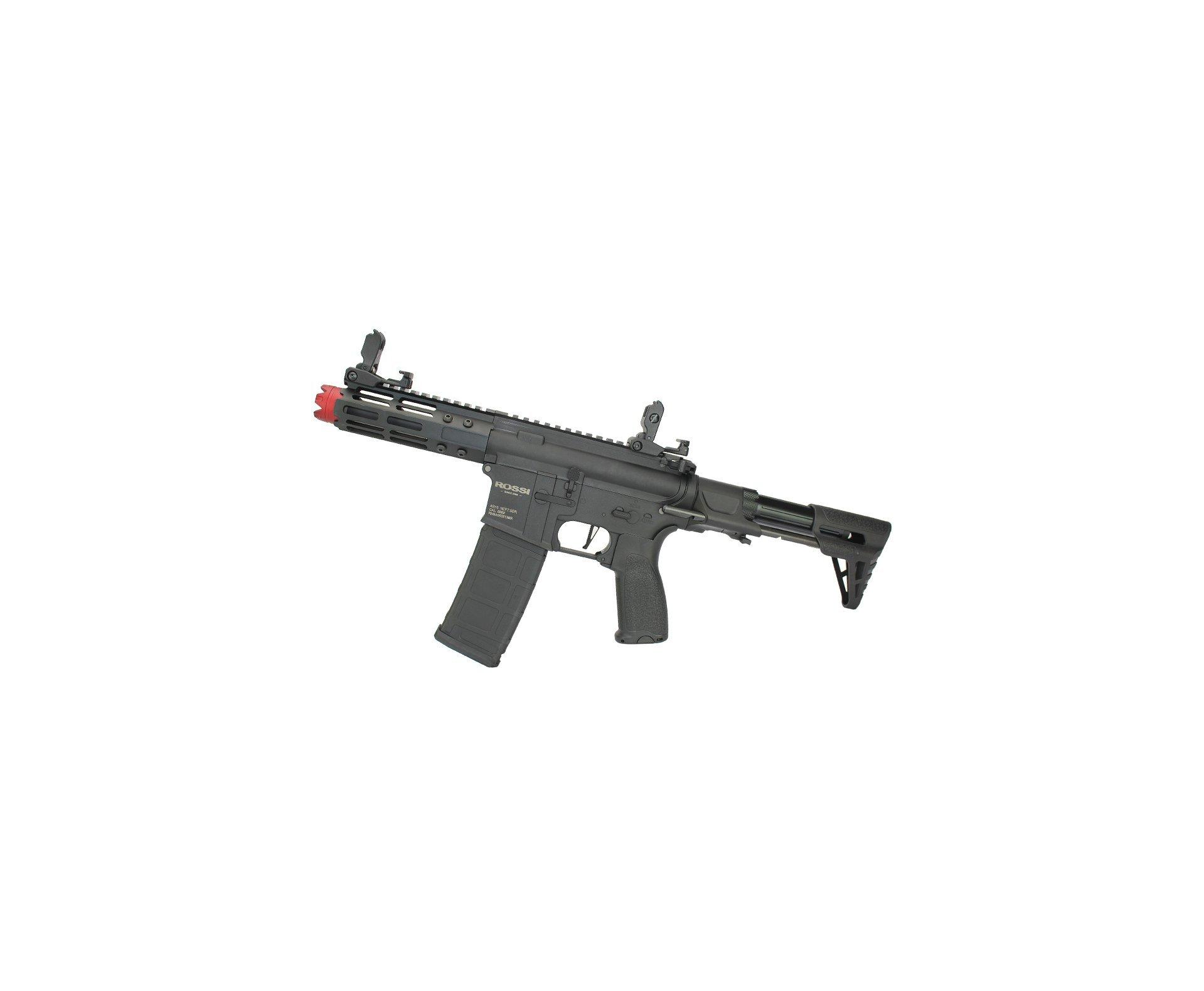 "Rifle De Airsoft Pdw Rossi Ar15 Neptune 6mm Keymod 5,5"" Com Gatilho Et + Capa Case Mdc + Esfera Plastica 0,20g 4000uni"