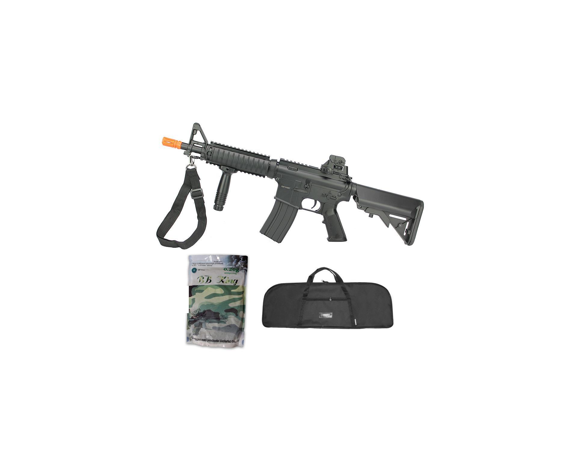 Rifle De Airsoft M4 Ris Cqb Cm176n Aeg Bivolt Cal 6mm - Cyma + Capa Simples + Esfera Plastica 0,20g 4000uni