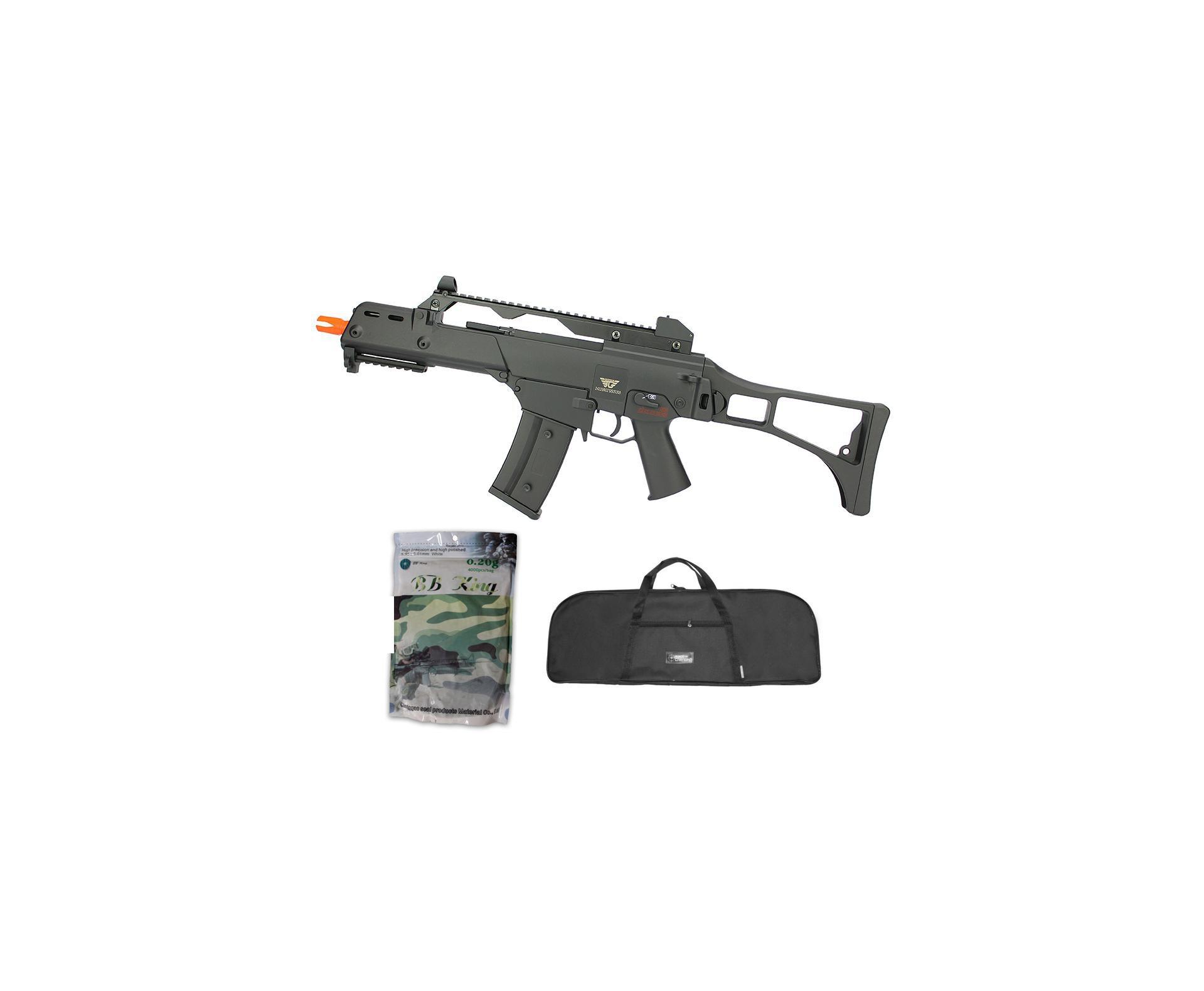 Rifle De Airsoft Aeg G36 Cal 6mm G608-0638 Jing Gong + Capa Simples + Esfera Plastica 0,20g 4000uni