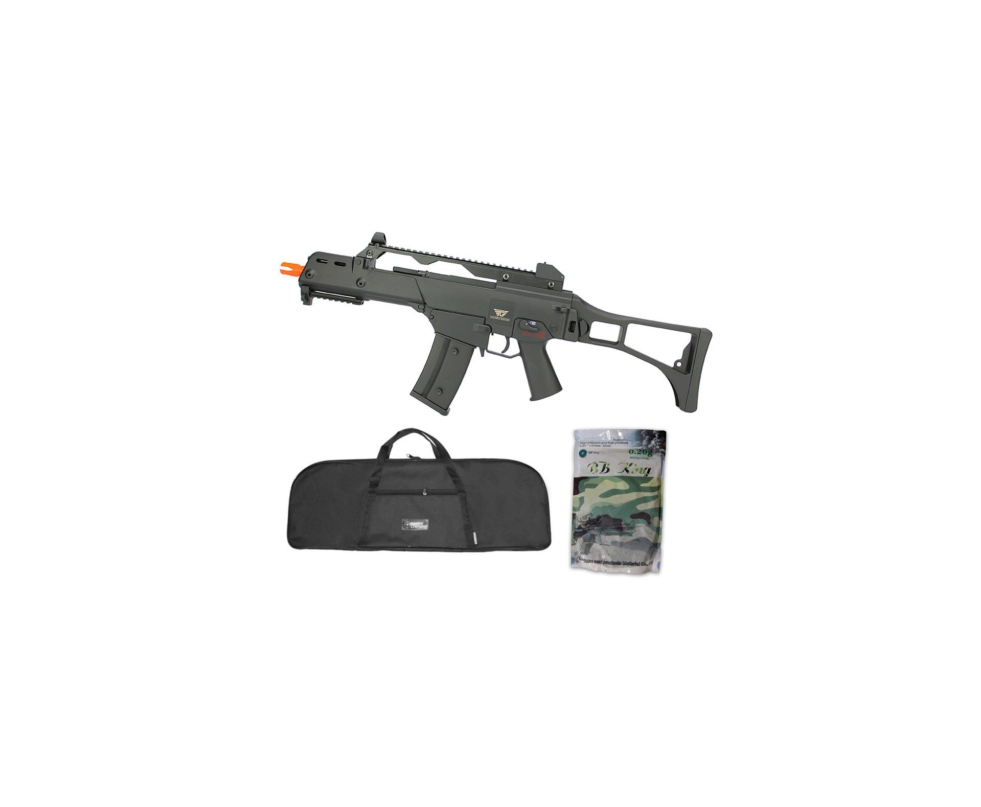 Rifle De Airsoft Aeg G36 Cal 6mm G608-0638 Jing Gong + Capa Simples + Bbs 0,20g 4000uni