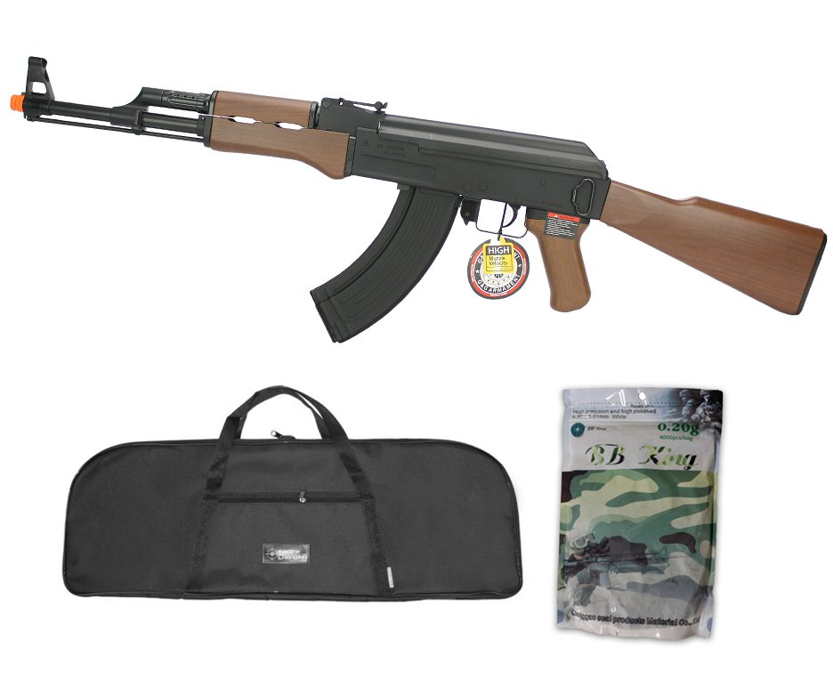 Rifle De Airsoft G&g Ak47 Cm Rk47 Aeg Imitation Wood Cal 6mm + Capa Simples + Esfera Plastica 0,20g 4000uni