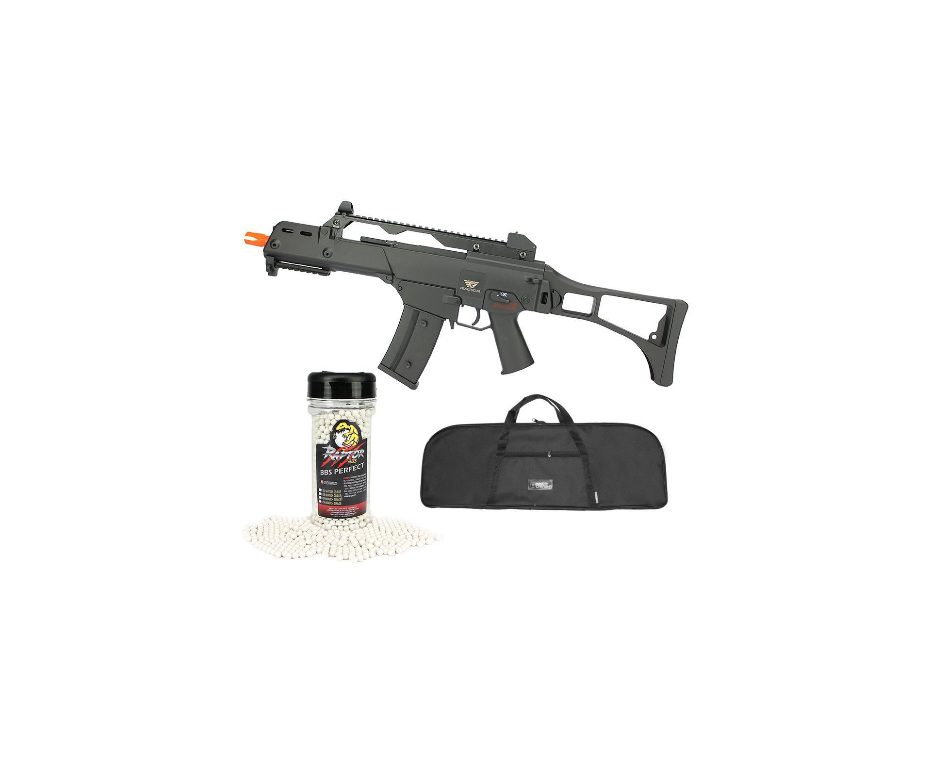 Rifle De Airsoft Aeg G36 Cal 6mm G608-0638 Jing Gong + Capa Simples + Bbs Raptor 0,28g 2000uni