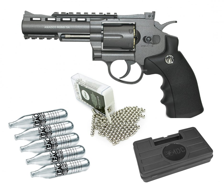 "Revolver 38 De Pressão Gas Co2 6 Tiros 4"" Oxidado Rossi Full Metal M701 4,5mm - Wingun + 5x Cilindro Co2 + Esfera De Aço 300uni + Maleta Case"
