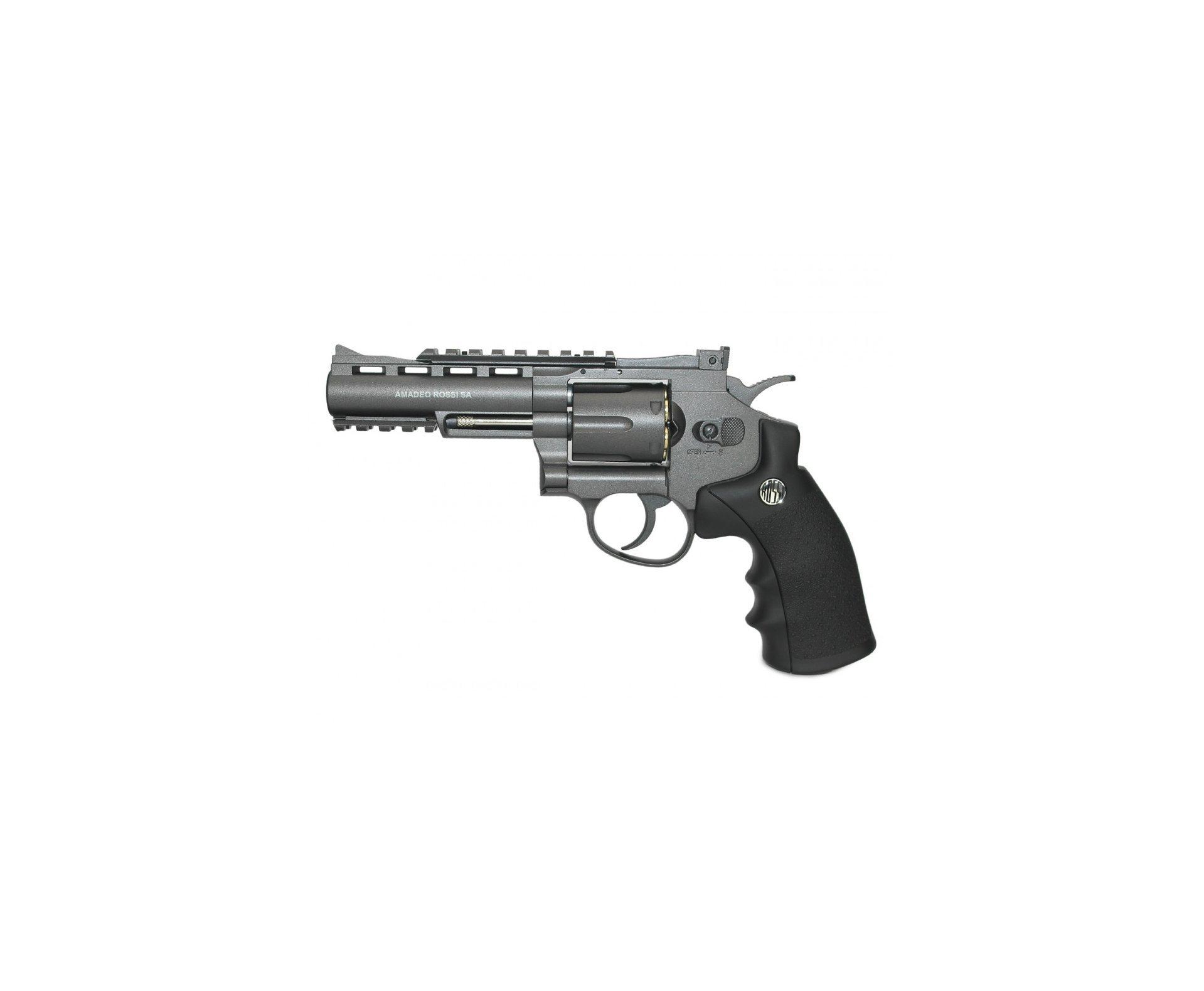 "Revolver 38 De Pressão Gas Co2 6 Tiros 4"" Oxidado Rossi Full Metal M701 4,5mm - Wingun + 3x Cilindro Co2 + Esfera De Aço 300uni"