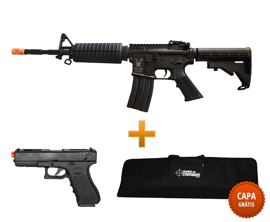 Rifle De Airsoft M4a1 Advance Full Metal Cal 6.0mm - King Arms + Pistola Glock Eletrica + Case
