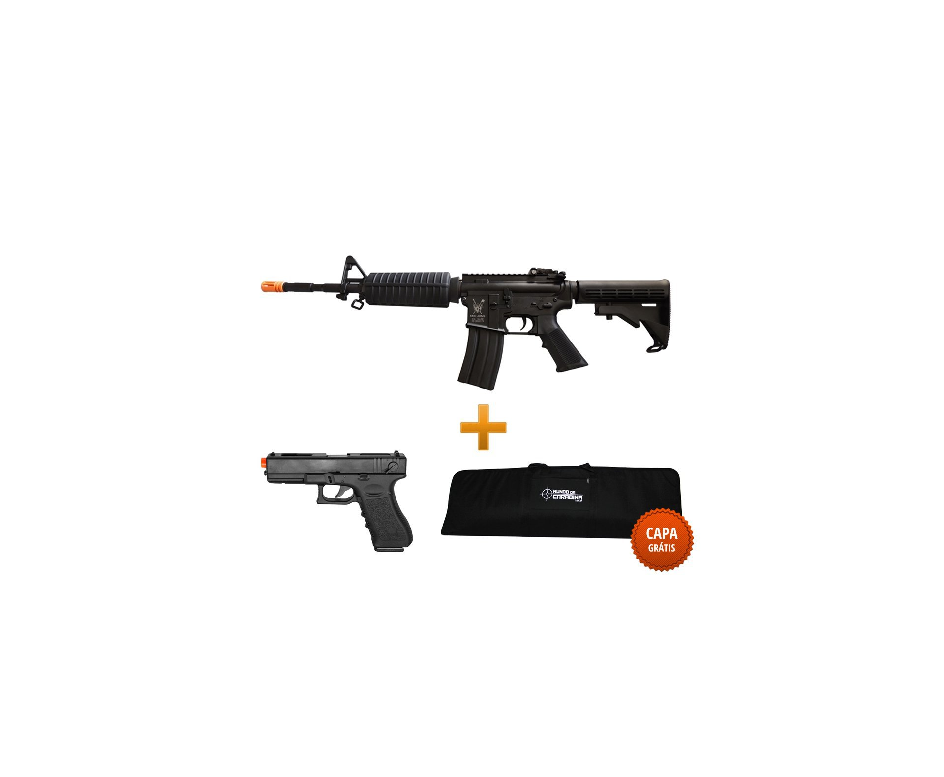 Rifle De Airsoft M4a1 Advance Full Metal Cal 6.0mm - King Arms + Pistola Glock Eletrica + Case