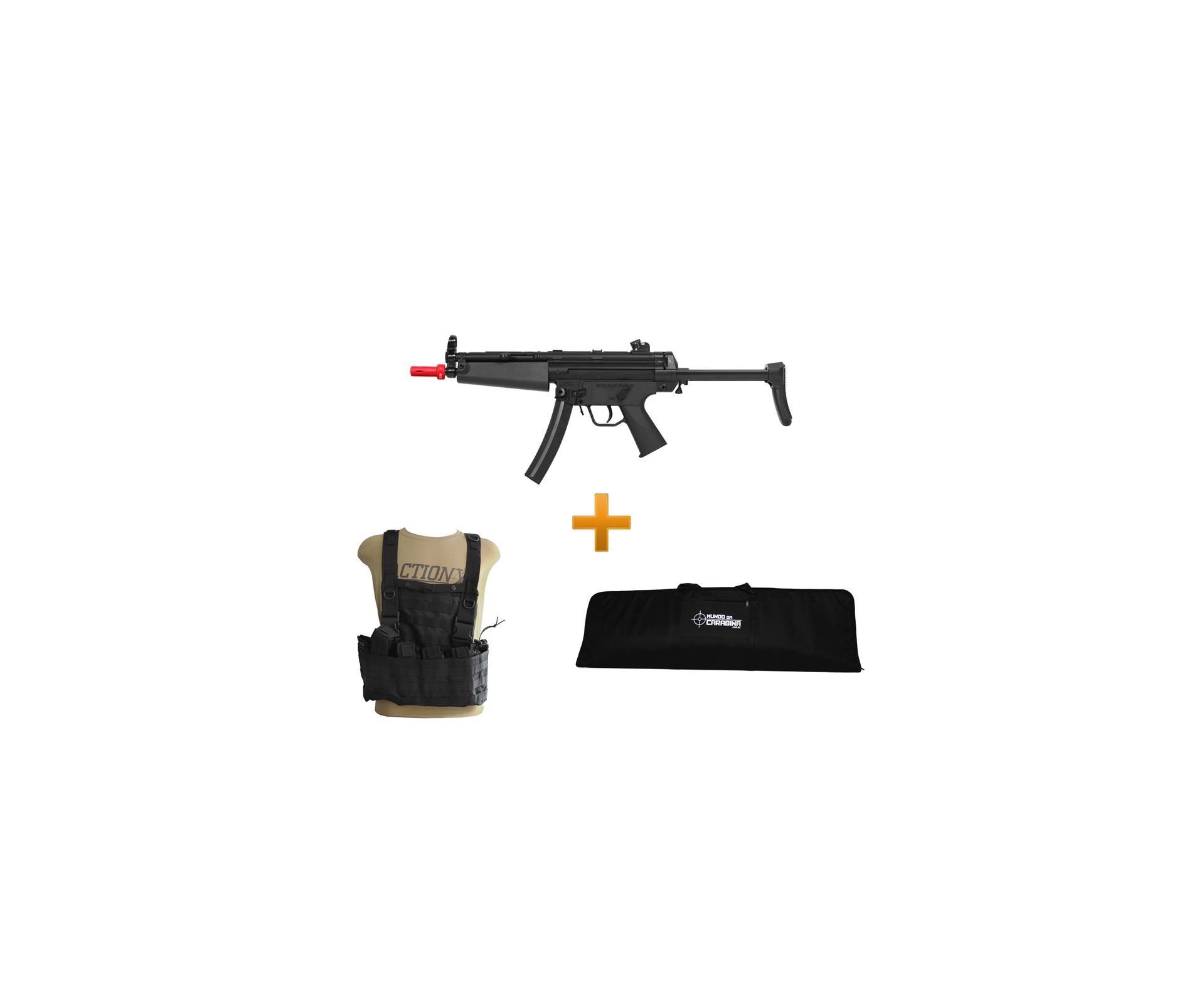 Rifle De Airsoft H&k Mp5 A5 Semi/metal + Colete Chest Molle Preto + Capa