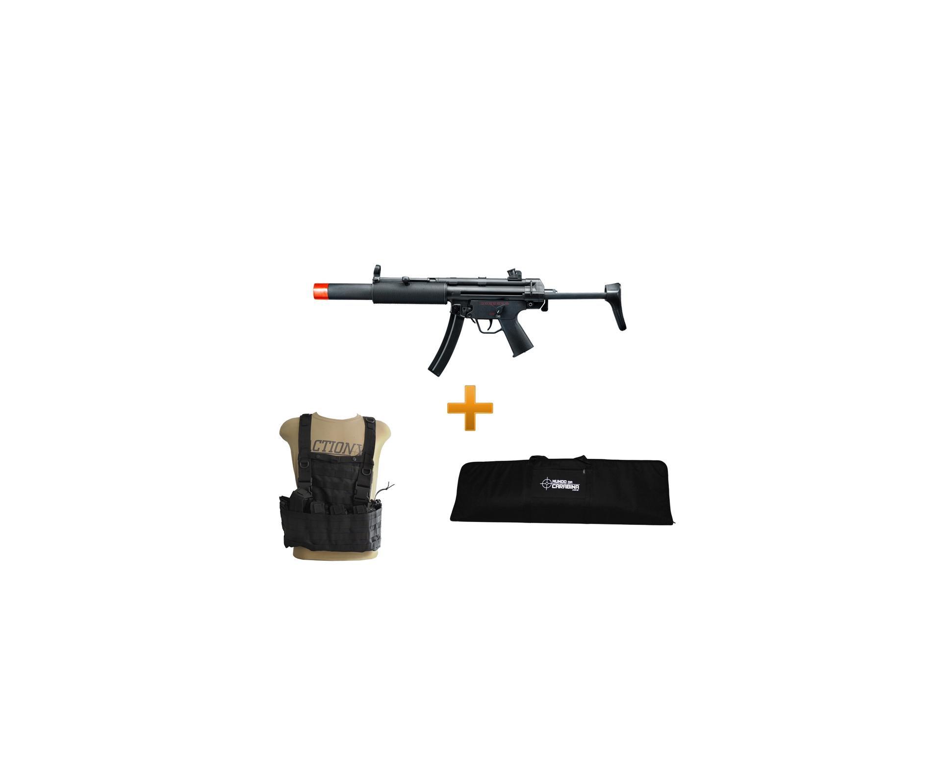 Rifle De Airsoft H&k Mp5 Sd6 Semi/metal + Colete Chest Molle Preto + Capa