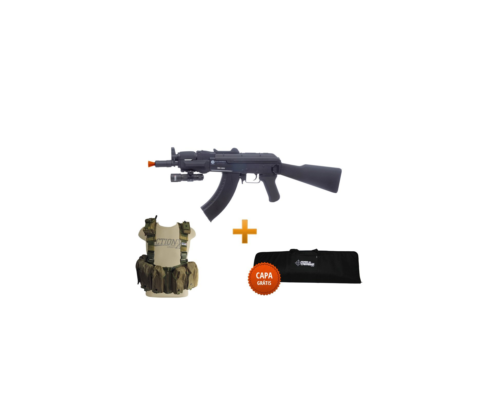 Rifle De Airsoft Spetsnaz Full Metal + Colete Chast Rack Verde + Capa