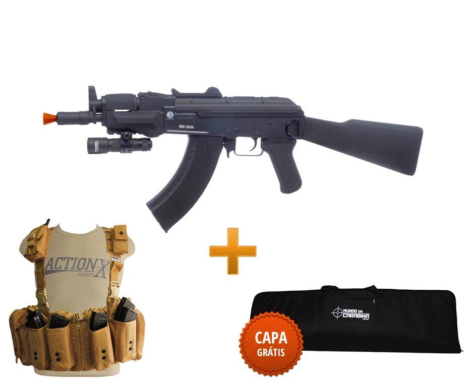 Rifle De Airsoft Spetsnaz Full Metal + Colete Chast Rack Tan + Capa