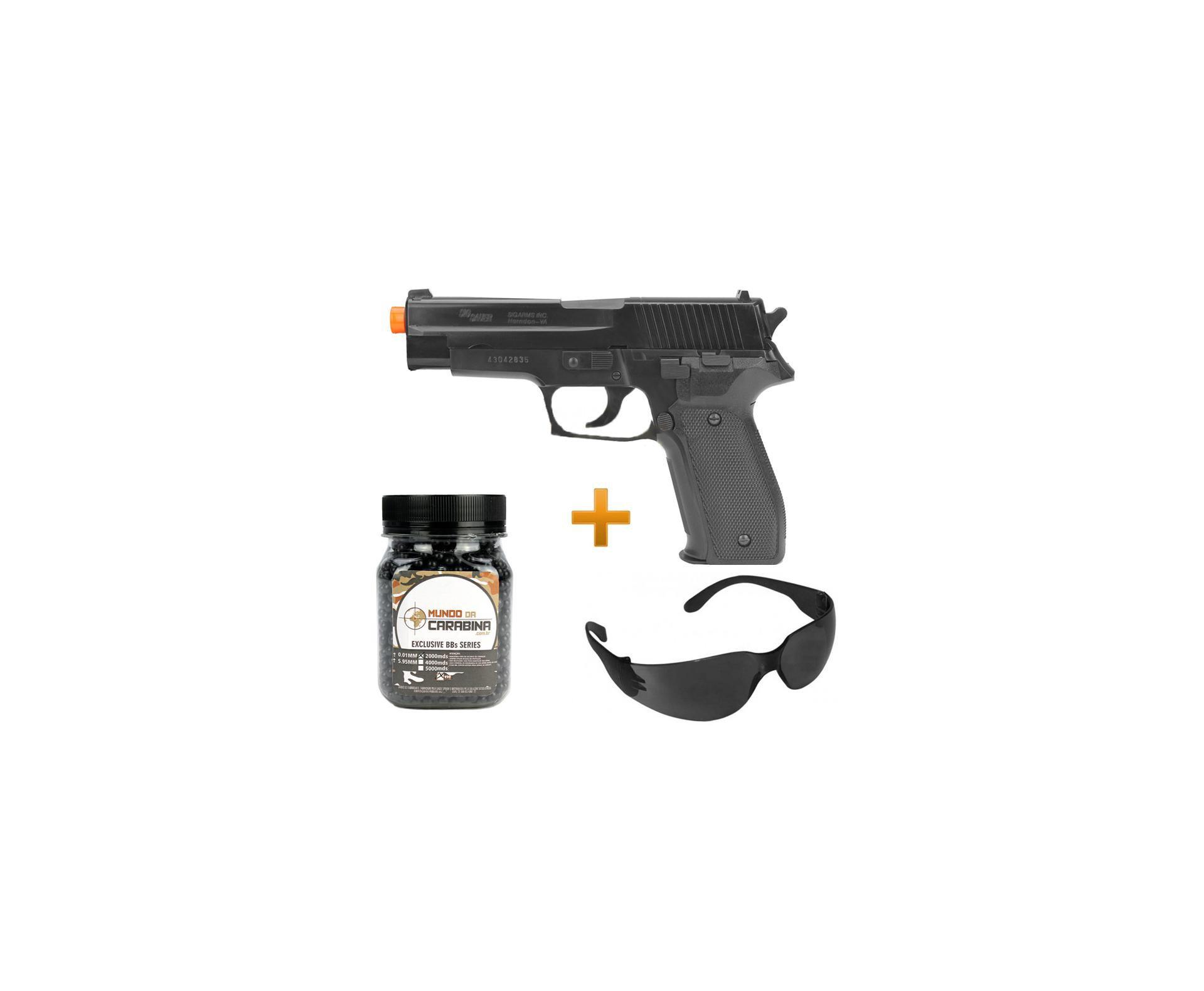 Pistola De Airsoft P226 Abs Spring + óculos De Proteção + 2.000 Esferas