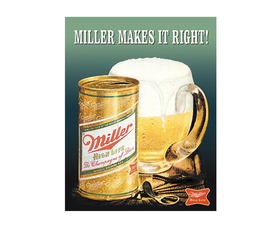 Placa Metálica Decorativa Miller Makes It Right - Rossi