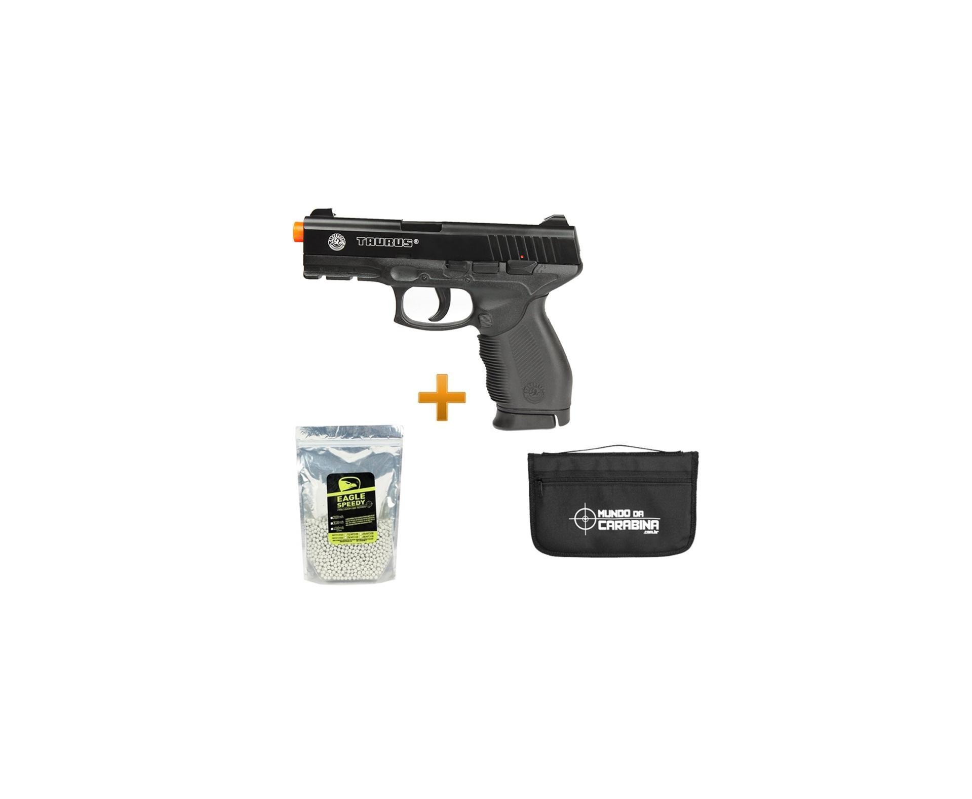 Pistola De Airsoft Taurus 24/7 Spring + 5000 Esferas 0,12g + Capa Almofada