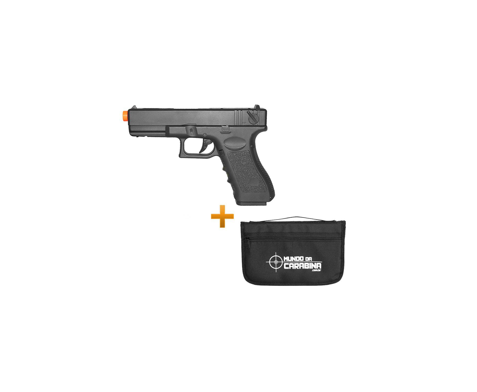 Pistola De Airsoft Eletrica Glock G18c Bivolt + Capa Especial Almofada - Cyma