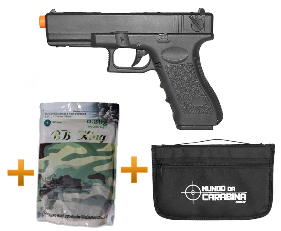 Pistola De Airsoft Glock G18c Bivolt + Esferas 0,20g + Capa Especial - Cyma