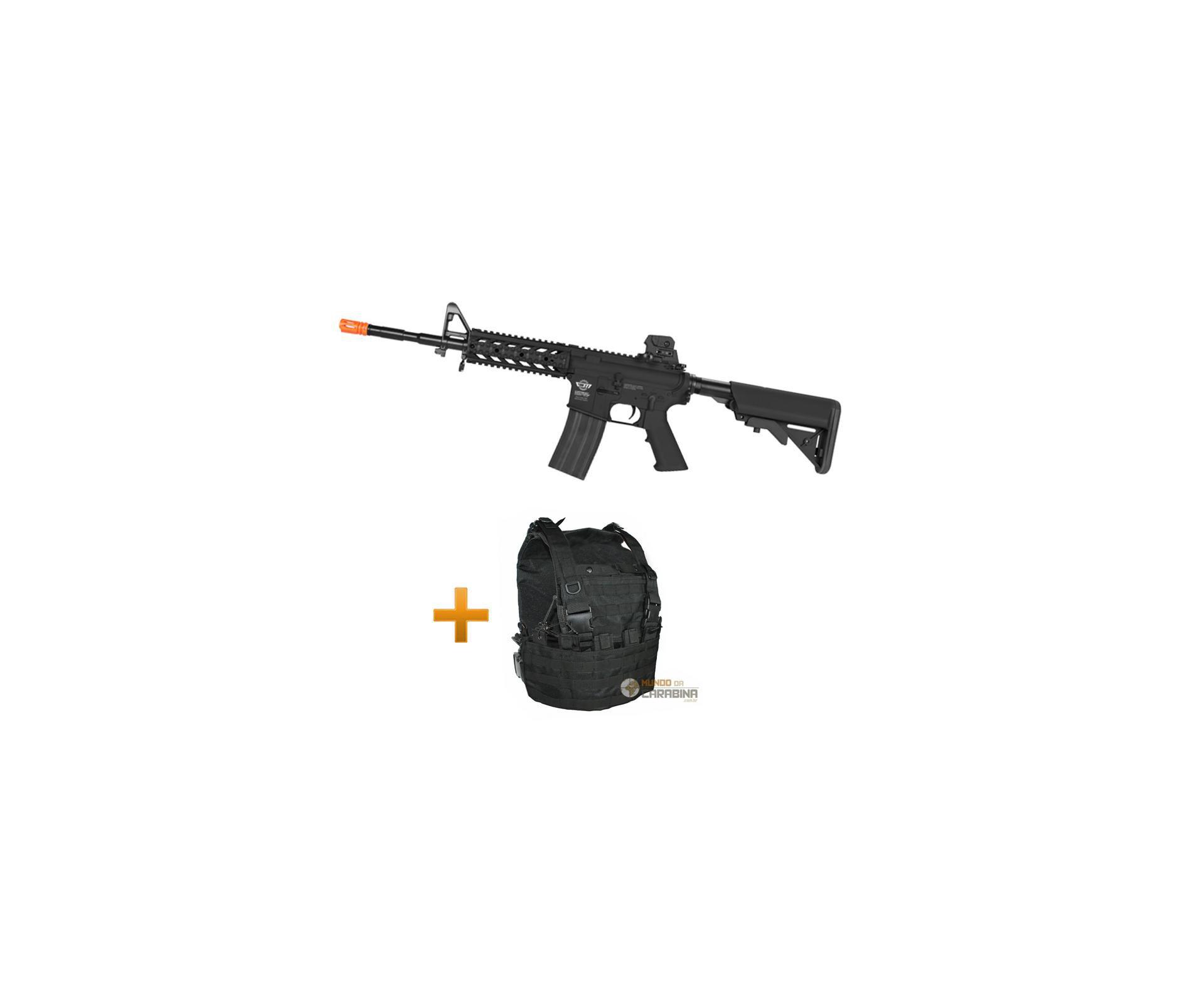 Rifle De Airsoft Cm16 Raider Longo - G&g + Colete Chest Molle Preto - Swiss Arms
