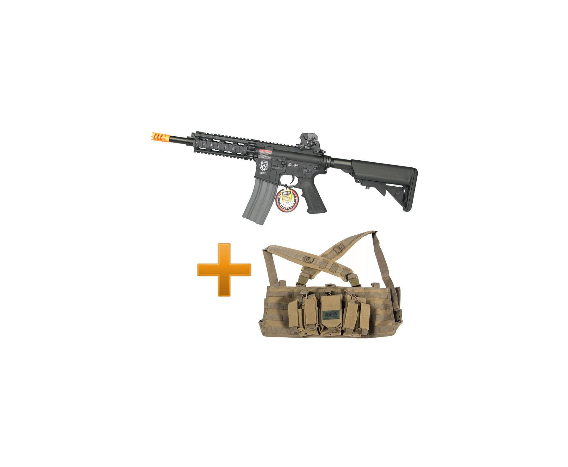 Rifle De Airsoft Gr16 Cqw Rush Blowback G&g + Colete Chest Tan Rack