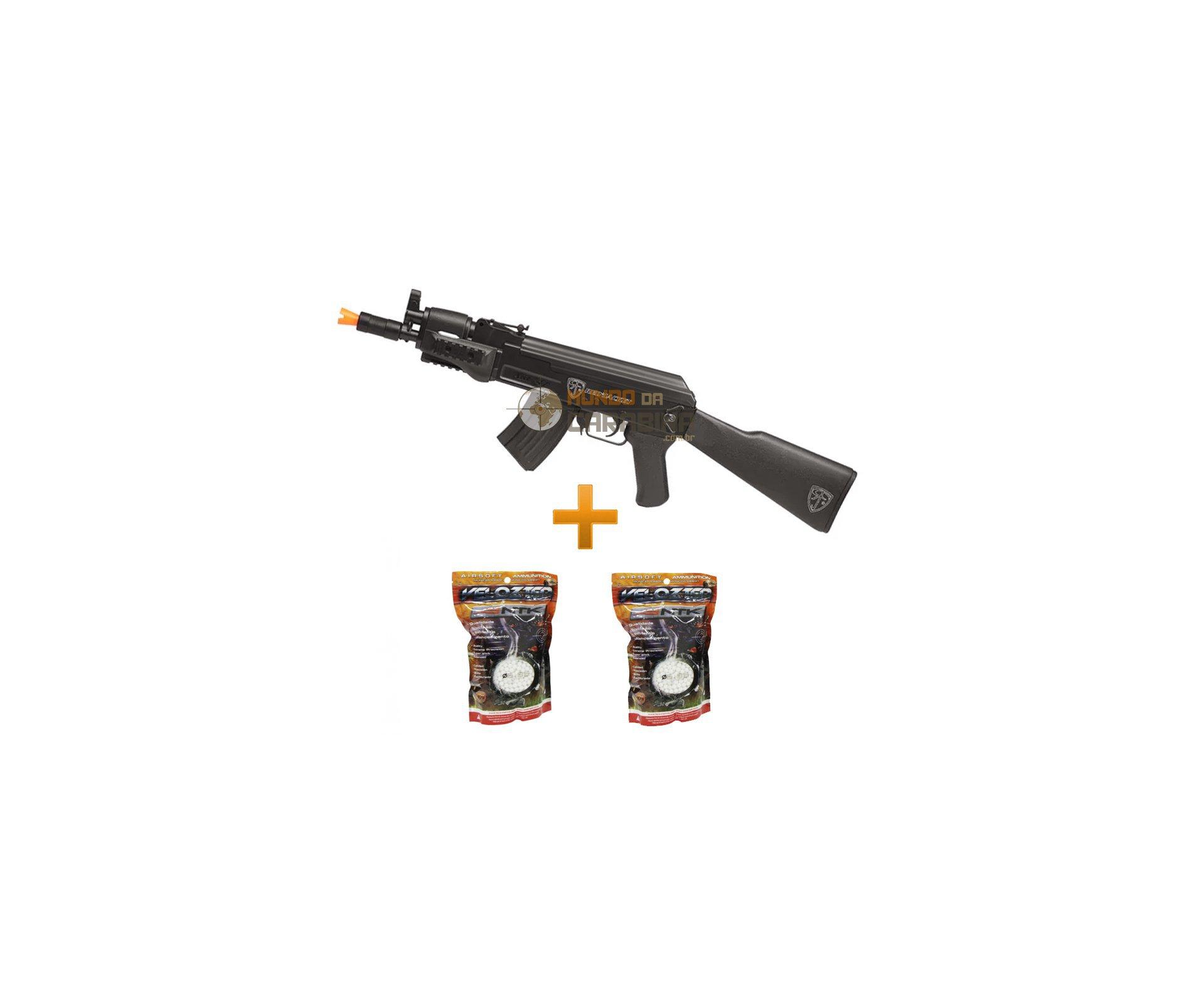 Rifle Airsoft Ak47u Spetsnaz 6,0mm - Red Jacket + 4000 Esferas Velozter 0,12g
