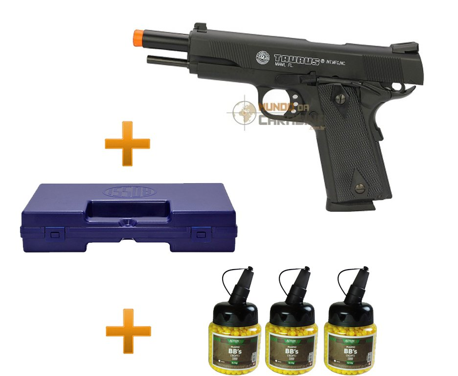 Pistola De Airsoft Taurus Pt 1911 Semi/metal + Case + 4000 Esferas 0,12g - Cybergun