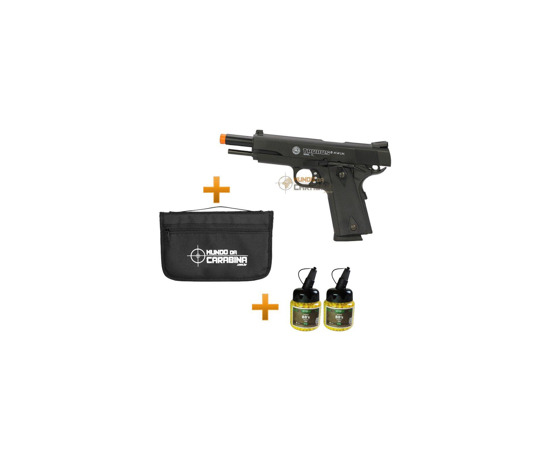 Pistola De Airsoft Taurus Pt 1911 Semi/metal + Capa + Coldre + 2000 Esferas 0,12g - Cybergun