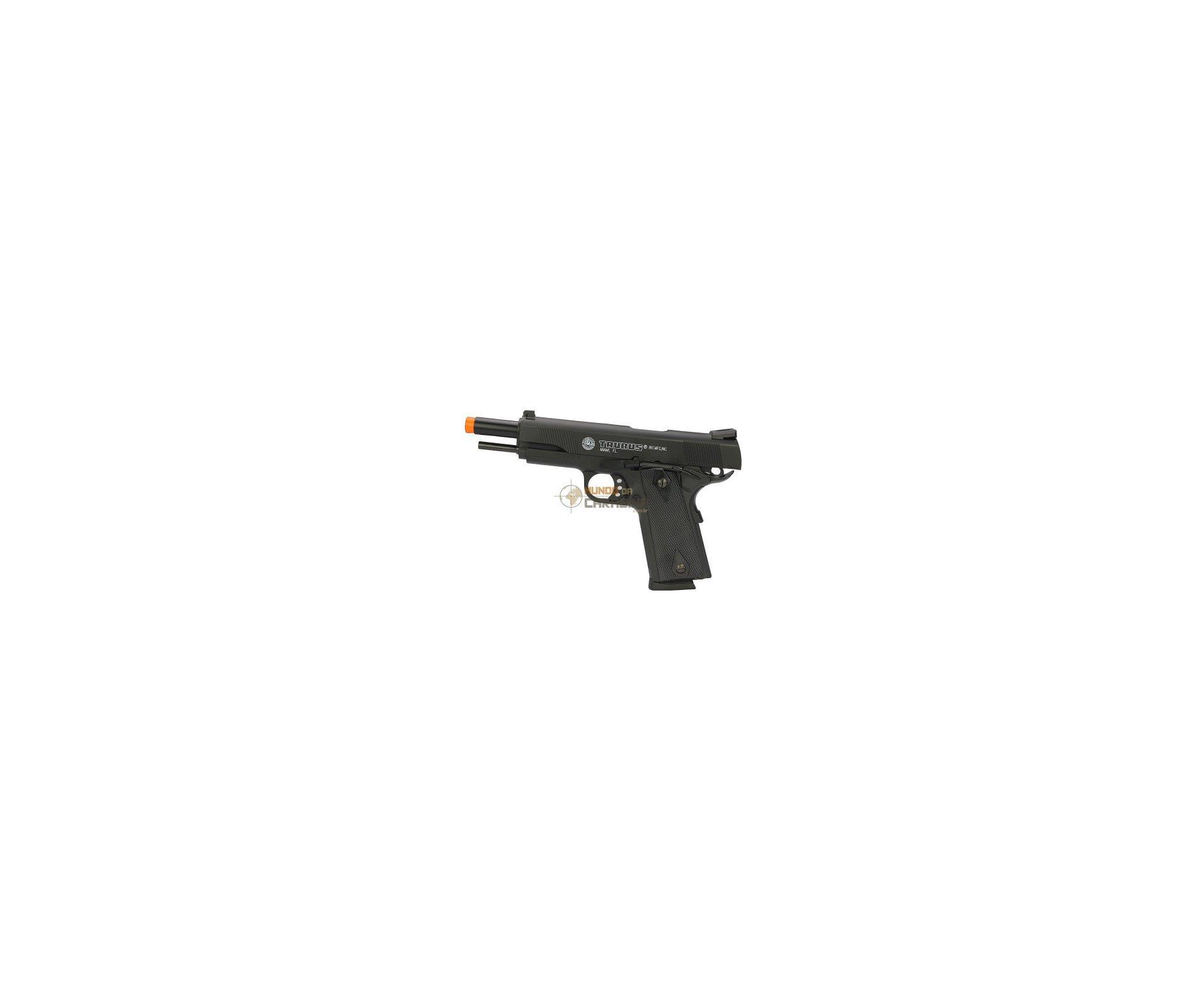 Pistola De Airsoft Taurus Pt 1911 Semi/metal + Coldre Perna Destro + Case Rossi