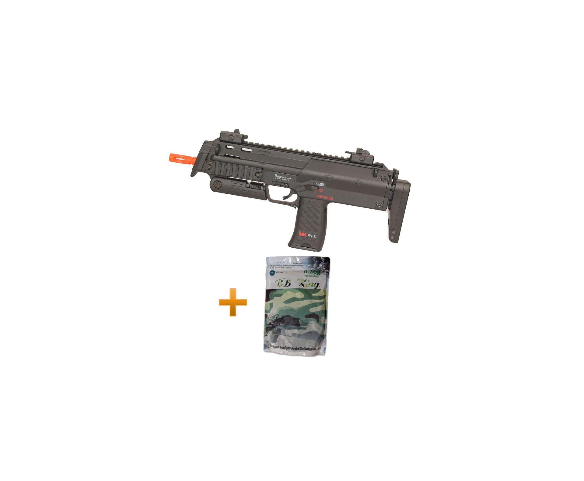Rifle De Airsoft Hk Mp7 A1+ 4000 Esferas 0,20g Bb King