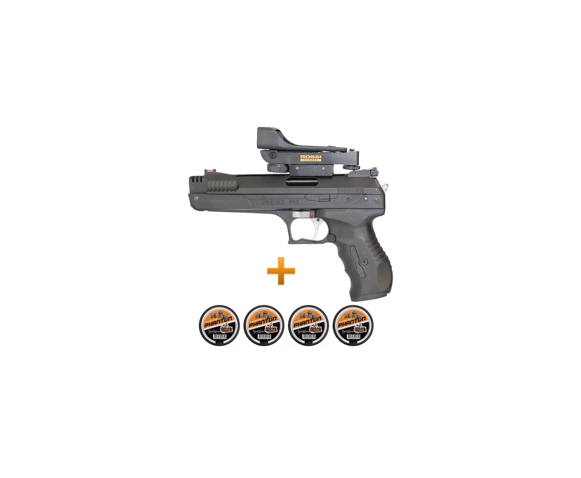Pistola De Pressão Beeman 2006 P-17 Cal 4,5mm + Red Dot Rossi + Cumbinhos - Beeman