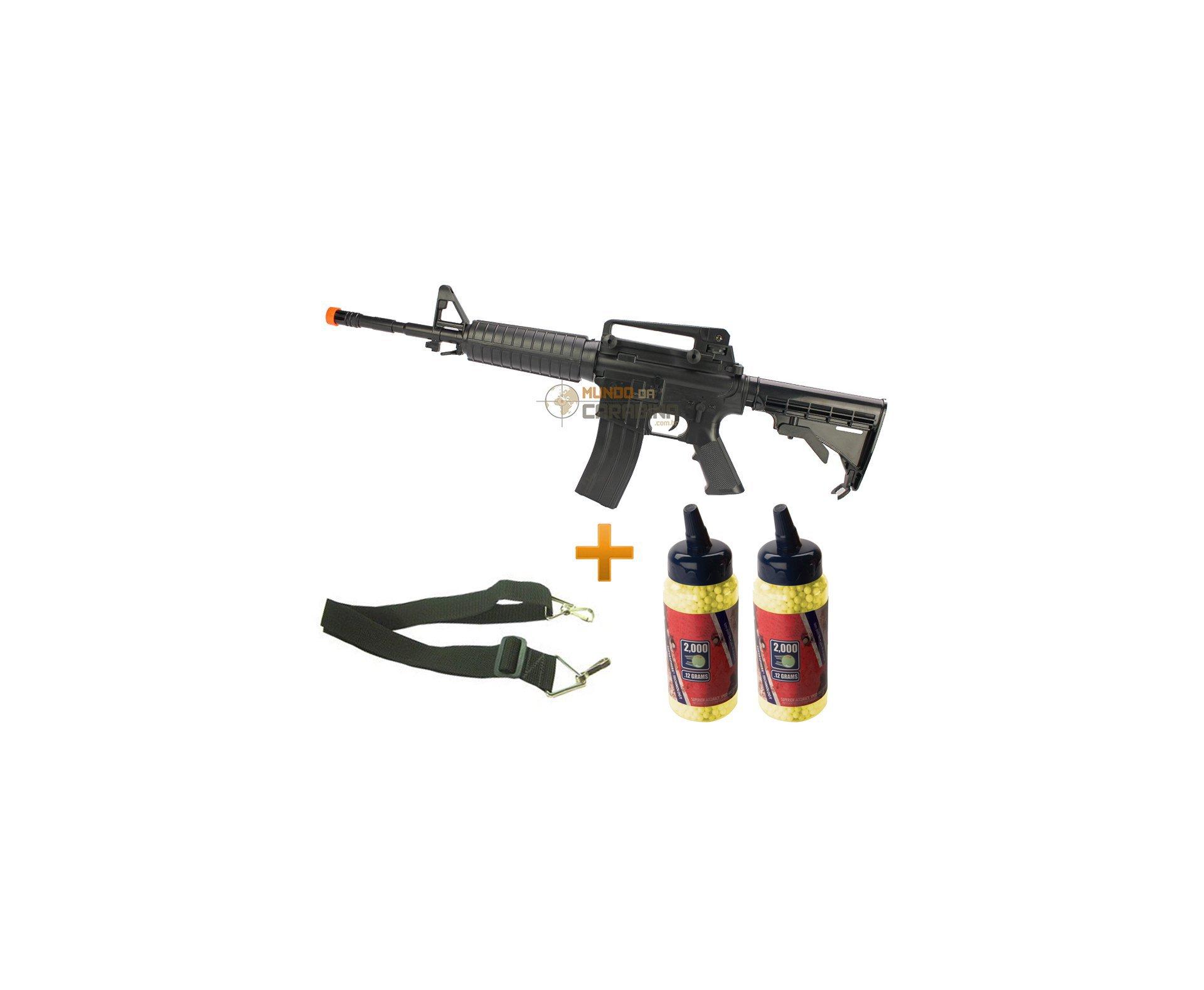 Rifle De Airsoftcolt M4 A1 Spring + Bandoleira + 4000 Esferas 0,12g - Cyber Gun