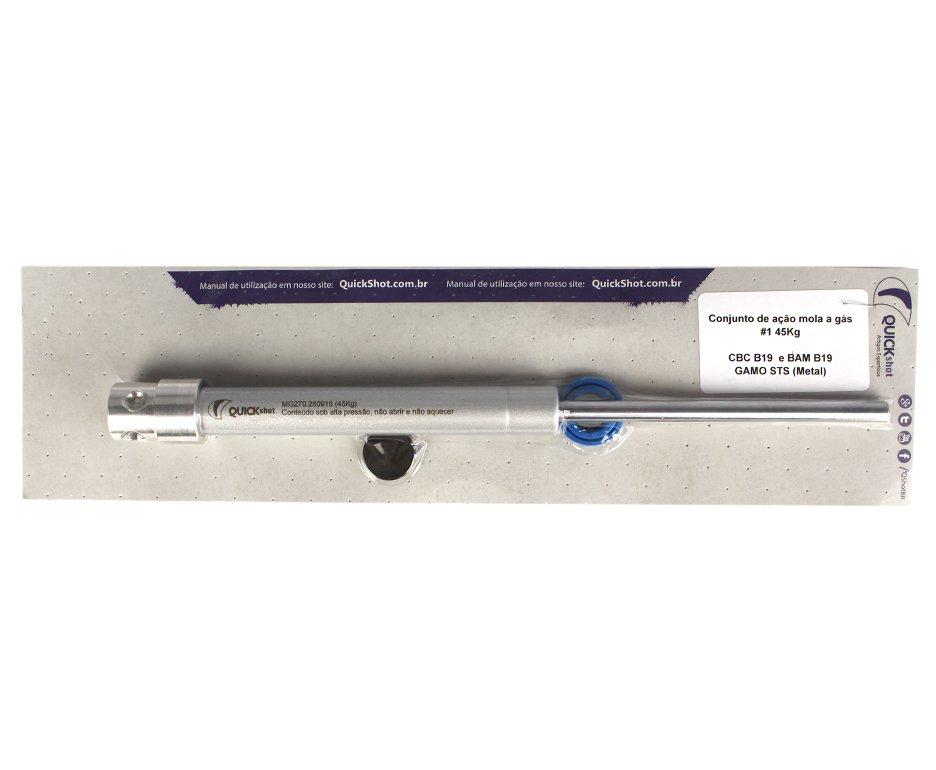 Kit Customização 1 - Pistão Pneumático 50kg + Pu + Centralizador - Cbc B19/bam B19 E Gamo Sts (metal) - Quickshot