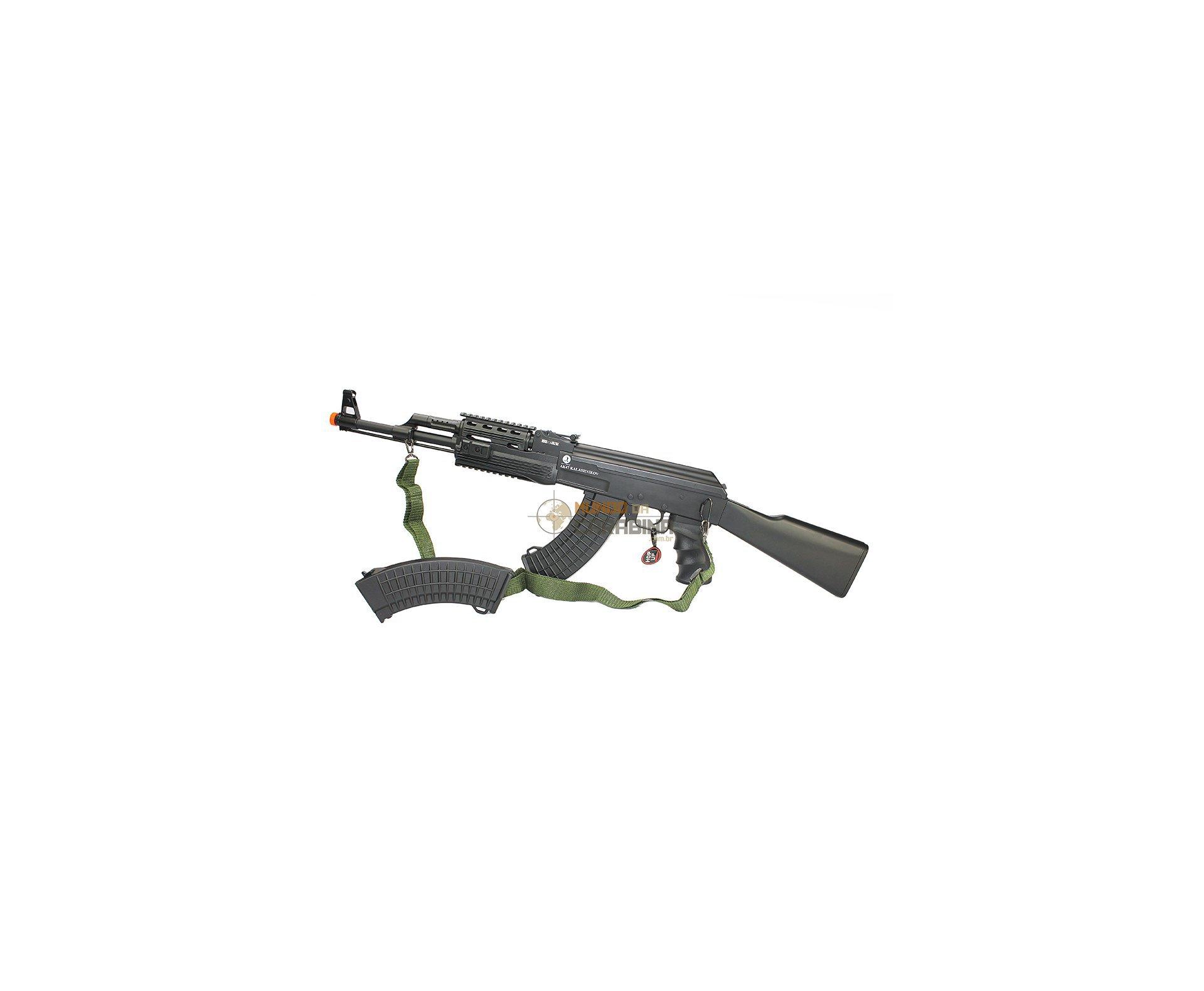 Rifle De Airsoft Ak 47 Tactical Fsv Full + Case Molle - Cal 6,0mm - Cybergun