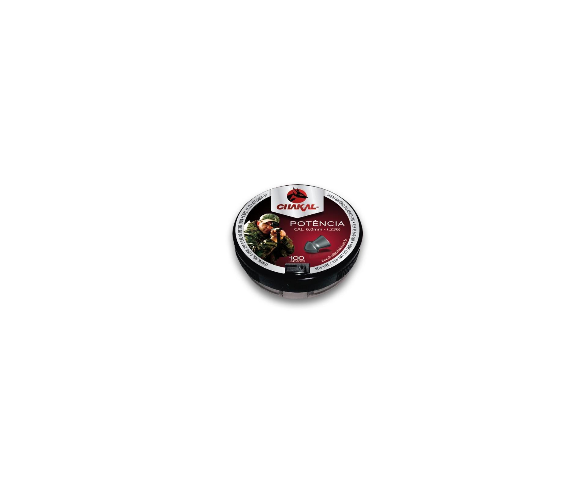 Chumbinho Potência Calibre 6,0 Mm - 100 Unidades - Chakal