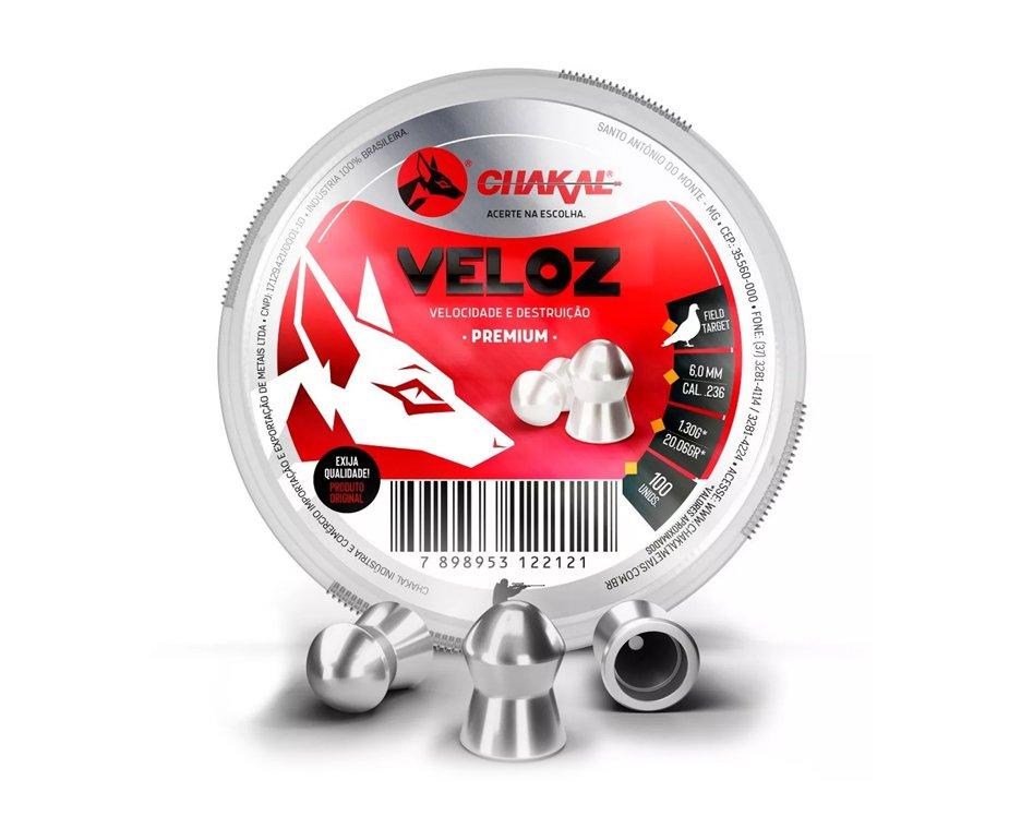 Chumbinho Veloz Calibre 6,0 Mm - 100 Unidades - Chakal