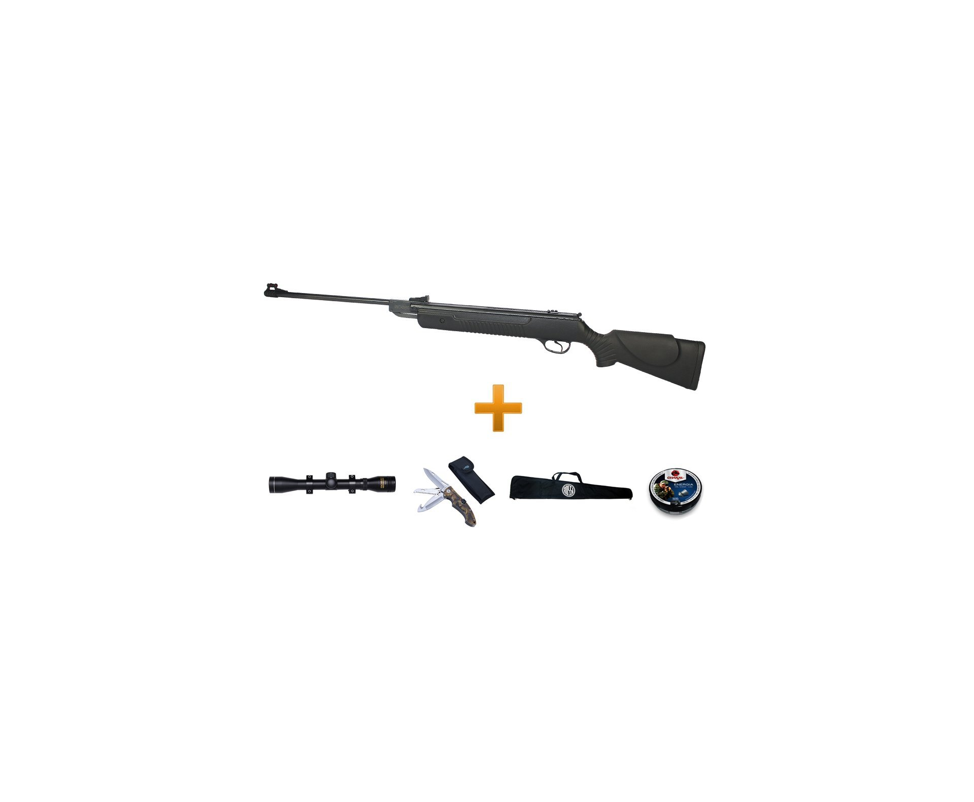 Carabina De Pressão Hatsan Ht 80 Cal 5,5mm + Luneta 4x32 Rossi + Canivete Selva + Chumbinhos + Capa - Rossi