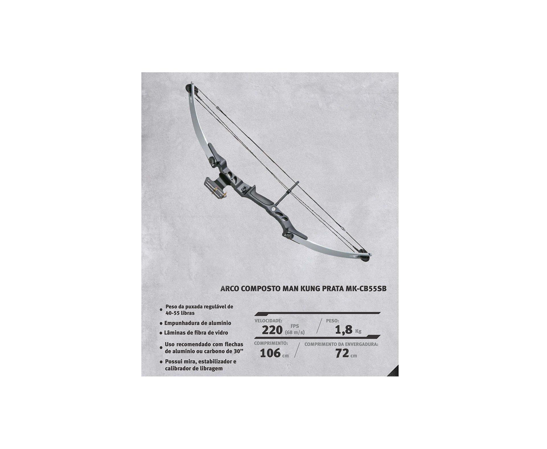 Arco Composto Prata Mk-cb55sb 40-55 Libras - Man Kung