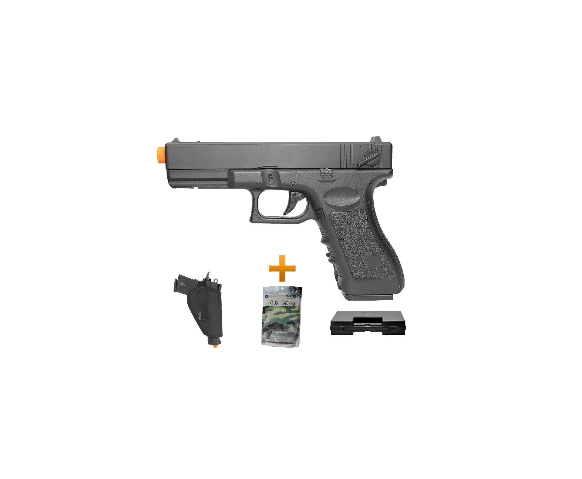 Pistola De Airsoft Glock G18c Bivolt + Esferas 0,20g + Case Deluxe + Coldre - Cyma