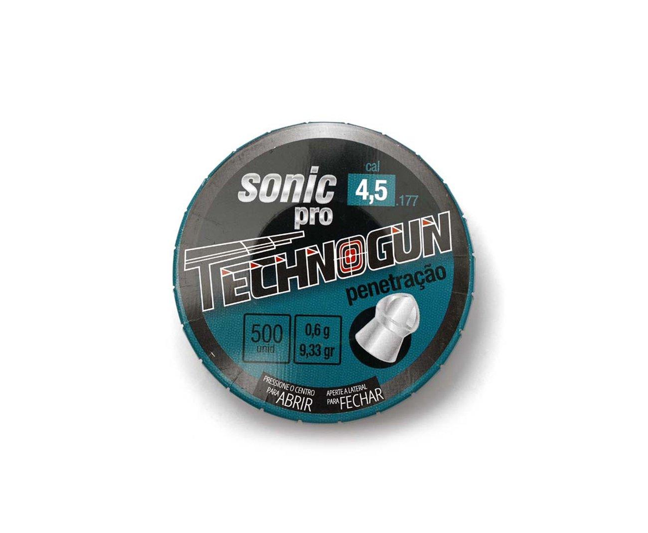 Chumbinho Sonic Pró - Calibre 4,5mm - Pote Com 500 Pcs - Technogun