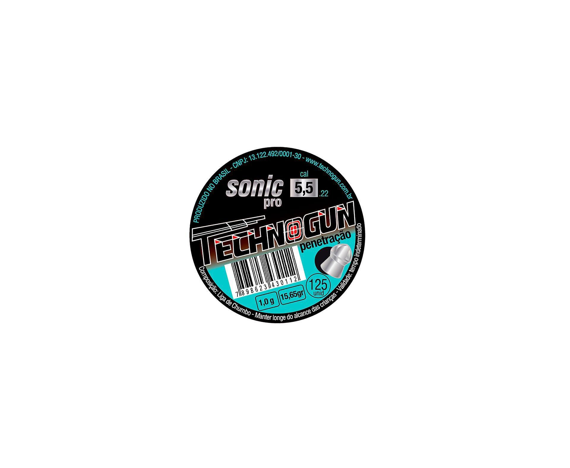 Chumbinho Sonic Pró Calibre 5,5mm - Pote Com 125 Pcs - Technogun