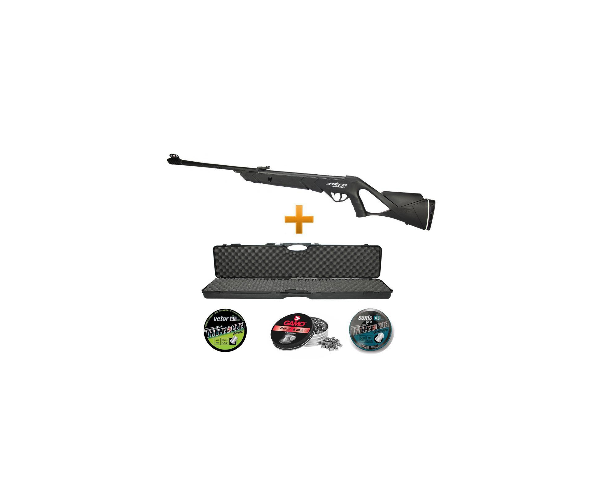 Carabina De Pressão Advanced Nitro F18 Cbc 4,5 + Case Rigido+ Chumbinhos