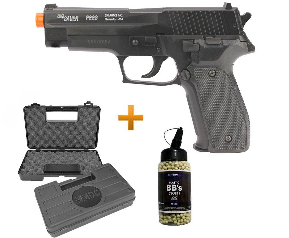Pistola De Airsoft P226 Sig Sauer Slide Metal - Cal 6,0 Mm + Case Deluxe + 4000 Esferas 0,12g - Cyber Gun