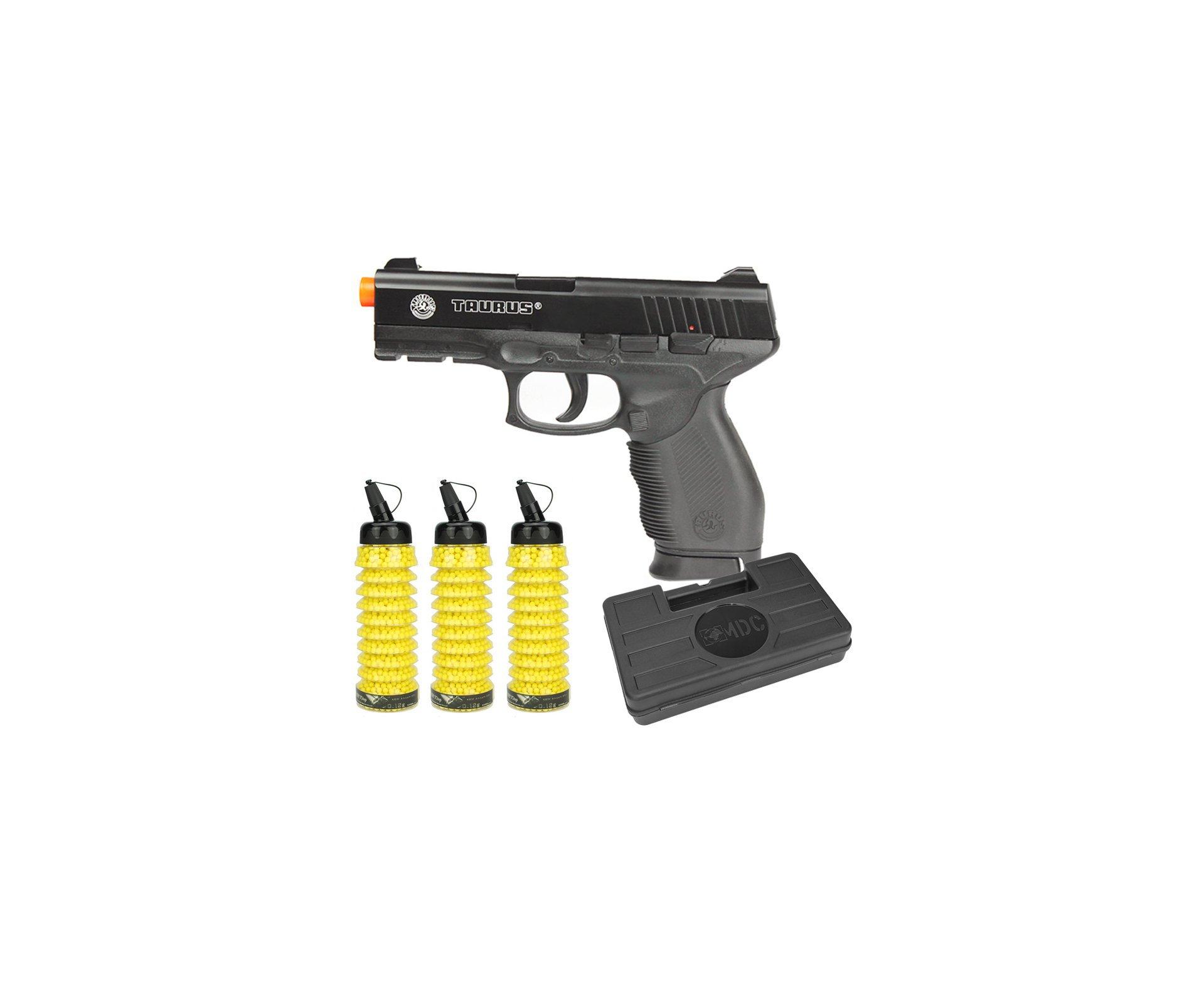 Pistola De Airsoft Taurus Pt 24/7 Semi/metal - Cal 6,0 Mm + 6900 Esferas 0,12g + Case Cybergun