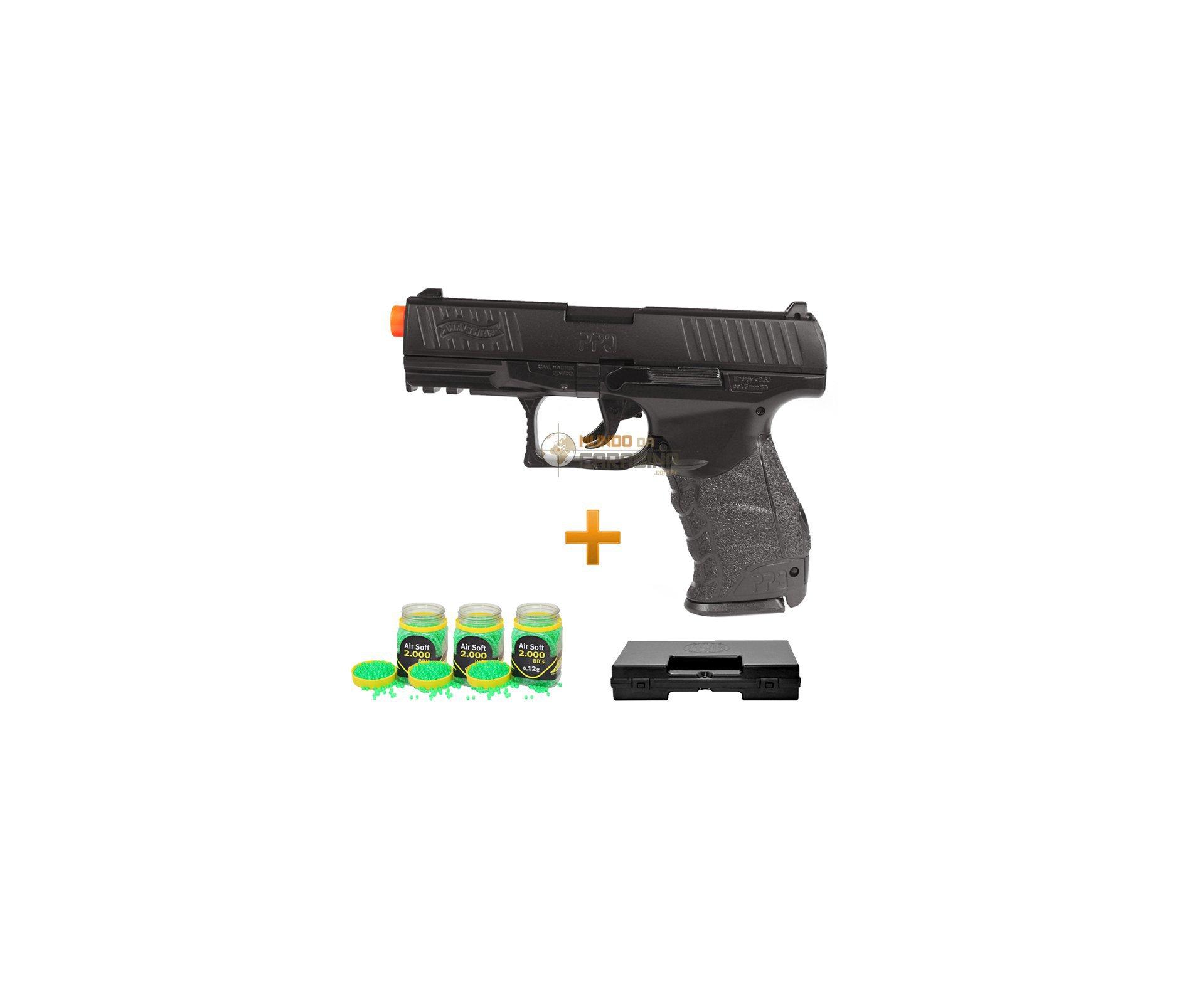 Pistola De Airsoft Walther Ppq Slide Metal - Cal 6mm + 6000 Esferas 0,12g + Case Deluxe